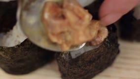 Gunkan roll sushi stock video footage