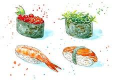 Gunkan, sushi och rulle Japansk kokkonst royaltyfri illustrationer