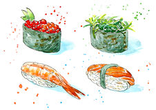 Gunkan, sushi and roll. Japanese cuisine. Royalty Free Stock Images