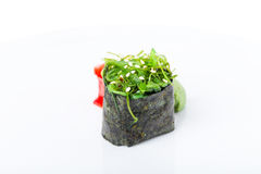 Gunkan sushi with seaweed and marinated ginger. Stock Photo
