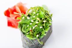 Gunkan sushi with seaweed and marinated ginger. Royalty Free Stock Photography