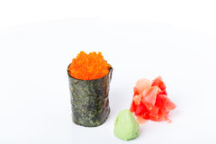 Gunkan sushi stuffed with red tobiko caviar. Royalty Free Stock Images