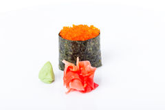 Gunkan sushi stuffed with red tobiko caviar. Royalty Free Stock Photo