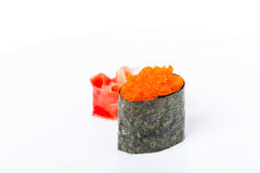 Gunkan sushi stuffed with red tobiko caviar. Stock Photos