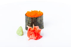 Gunkan sushi stuffed with red tobiko caviar. Stock Photo