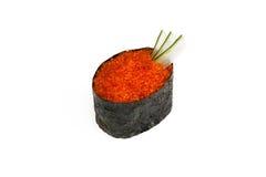 Gunkan tobiko susi. On a white background royalty free stock photography