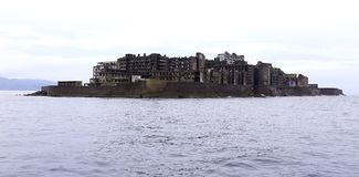 Gunkanjima Battleship Island in Nagasaki Japan. Gunkanjima Also kwown as Hashima or Battleship Island in Nagasaki Japan. is former coal mining island. It is old royalty free stock photos