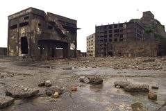 Gunkanjima Battleship Island in Nagasaki Japan. Gunkanjima Also kwown as Hashima or Battleship Island in Nagasaki Japan. is former coal mining island. It is old stock photo
