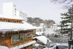 GUNMA, JAPAN - FEB 18,2018: Kusatsu Onsen ist ein Erholungsort der heißen Quelle, der in der Präfektur Gunma Japan gelegen ist, stockfotos