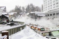 GUNMA, JAPAN - FEB 18,2018: Kusatsu Onsen ist ein Erholungsort der heißen Quelle, der in der Präfektur Gunma Japan gelegen ist, stockbilder