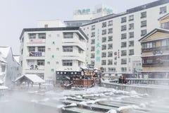 GUNMA, JAPAN - FEB 18,2018: Kusatsu Onsen ist ein Erholungsort der heißen Quelle, der in der Präfektur Gunma Japan gelegen ist, e stockbild