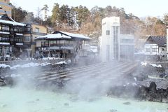 GUNMA , JAPAN. Kusatsu Onsen is one of Japan's most famous hot spring resorts and is blessed with large volumes of high quality hot spring water said to cure Stock Photos