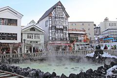 GUNMA , JAPAN. Kusatsu Onsen is one of Japan's most famous hot spring resorts and is blessed with large volumes of high quality hot spring water said to cure Stock Photography