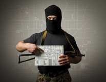 Gunman and city map. Stock Photography