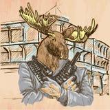Gunman. Elk - An hand drawn vector. Line art. Royalty Free Stock Photography