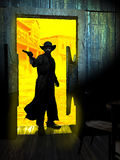 Gunman entering in the saloon. Old western saloon, where a man penetrates, weapon in hand. At the background, the town under the sun vector illustration