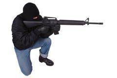 Gunman with M16 rifle Stock Photo