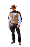 Gunman in the old wild west. On white background royalty free stock photos