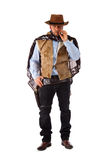 Gunman in the old wild west. On white background stock photos