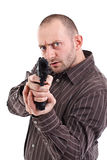 Gunman ready to shoot. Isolated on white stock images