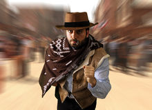 Gunman runs in the far west Royalty Free Stock Photos