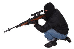 Gunman with sniper rifle Stock Images