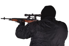 Gunman with sniper rifle Royalty Free Stock Image