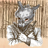 Gunman. Wolf - An hand drawn vector. Line art. Stock Photography