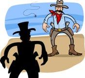 Gunmen duel cartoon illustration royalty free illustration