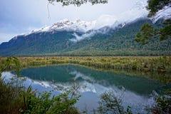 Gunn Lake, Fiordland foto de archivo libre de regalías