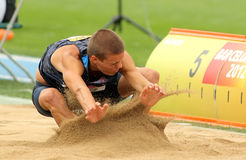 Gunnar Nixon of USA. During Long Jump Decathlon event of the 20th World Junior Athletics Championships at the Olympic Stadium on July 10, 2012 in Barcelona Royalty Free Stock Photography