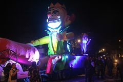 Gunner float. A giant papier-mache float at the carnival parade of eboli in italy Stock Photography