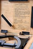Gunner's clinometer certificate. Certificate of gunner's clinometer made in USSR in 1949 Stock Photos