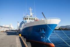 Gunnerus blue industrial cargo ship Stock Images