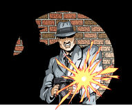 Gunning Gangster. Comic book drawing of a gangster with a tommygun Royalty Free Stock Photo
