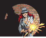 Gunning Gangster Gal. Comic book drawing of a gangster with a tommygun Stock Photography