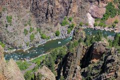 Gunnison River in the Black Canyon. A view looking down on the Gunnison River witgin The Black Canyon of the Gunnison National Park Stock Photos