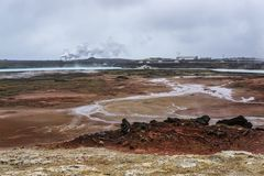 Gunnuhver的地热田, Reykjanes地热能厂,冰岛 库存图片