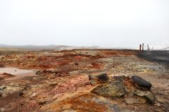 Gunnuhver Geothermal Area in Iceland stock images