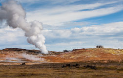 Gunnuhver, Geothermal Area. Gunnuhver, a geothermal area at the Reykjanes peninsula with steaming hot pots and unearthly views stock photo