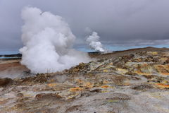 Gunnuhver hot spring and steam vents in Iceland Royalty Free Stock Image