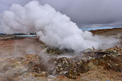 Gunnuhver hot spring and steam vents in Iceland. Gunnuhver hot spring and steam vents in Reykjanes, Iceland stock image