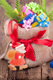 Gunny sack with presents for christmas Stock Photos