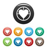 Gunpoint heart icons set vector simple. Gunpoint heart icons set. Vector simple illustration of gunpoint heart icons isolated on white background Stock Photography