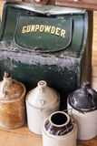 Gunpowder Container. Containers with gunpowder and various containers Stock Photo