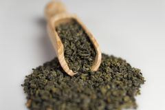 Gunpowder green tea in scoop. On a white background. Selective focus stock images