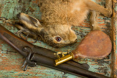 Gunpowder pouch and hare Royalty Free Stock Photography