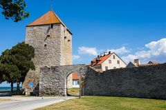 The Gunpowder Tower in the city wall of Visby Stock Photos