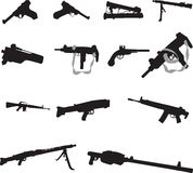 Guns. Silhouettes of different guns for your design Royalty Free Stock Image