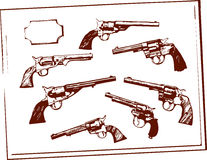 Guns. Vector drawing shows old west guns framed display Royalty Free Stock Photos